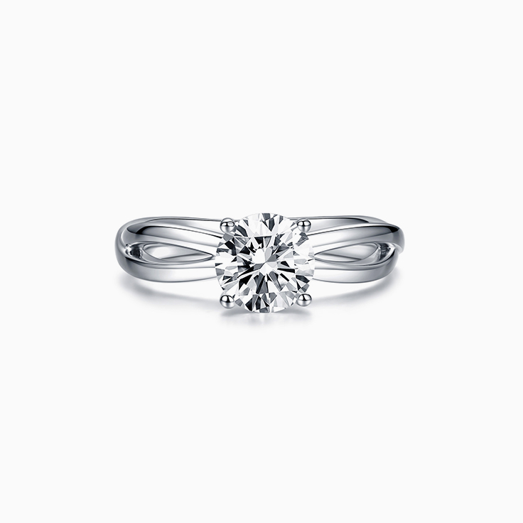Round Brilliant Cut on a Plain Split Shank Engagement Ring