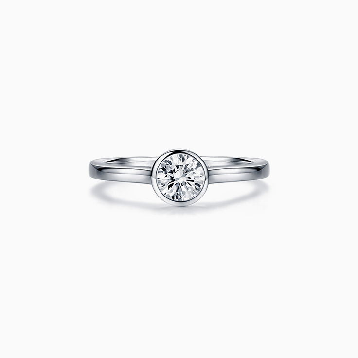Round Bezel Solitaire  Diamond Engagement Ring