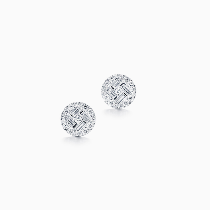 Baguette and Round Cluster Studs