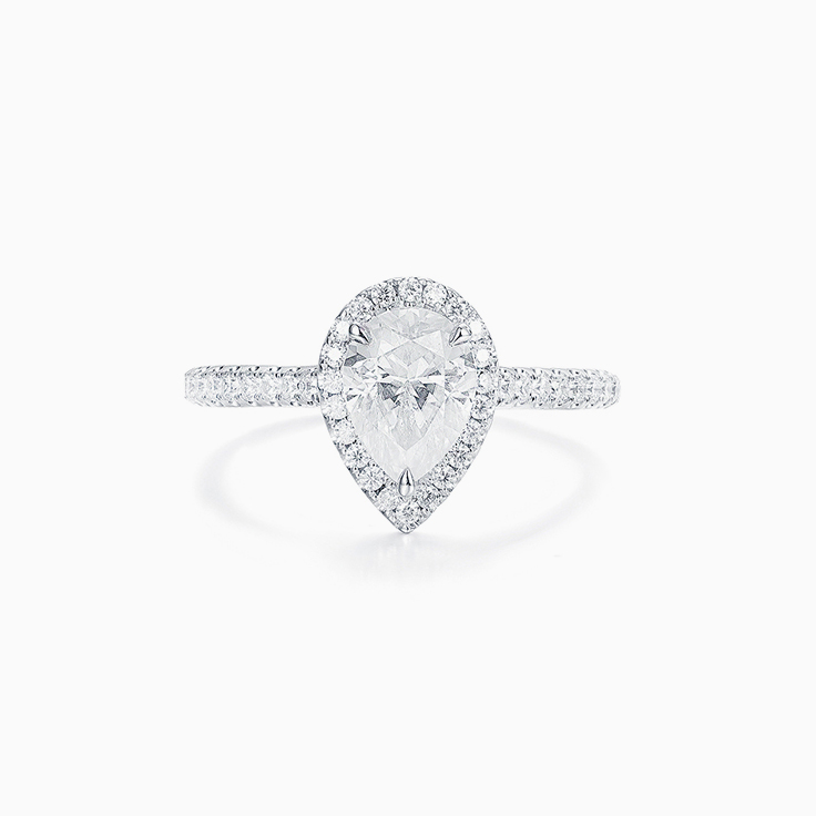 Pear Cut Diamond Engagement ring with a Diamond Halo