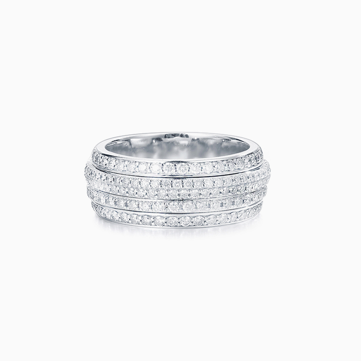Five Row Pave Diamond Ring