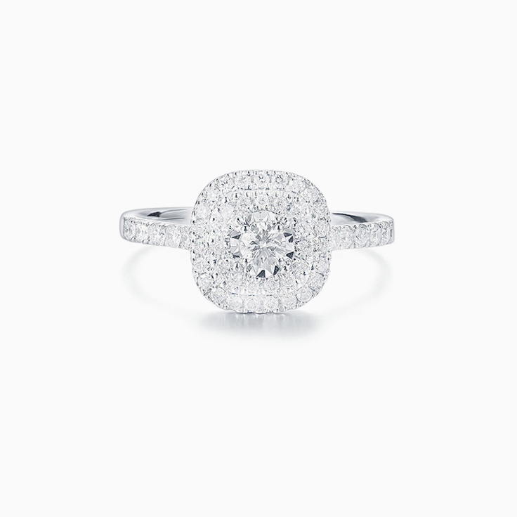 Round Brilliant cut with double cushion halo Engagement ring