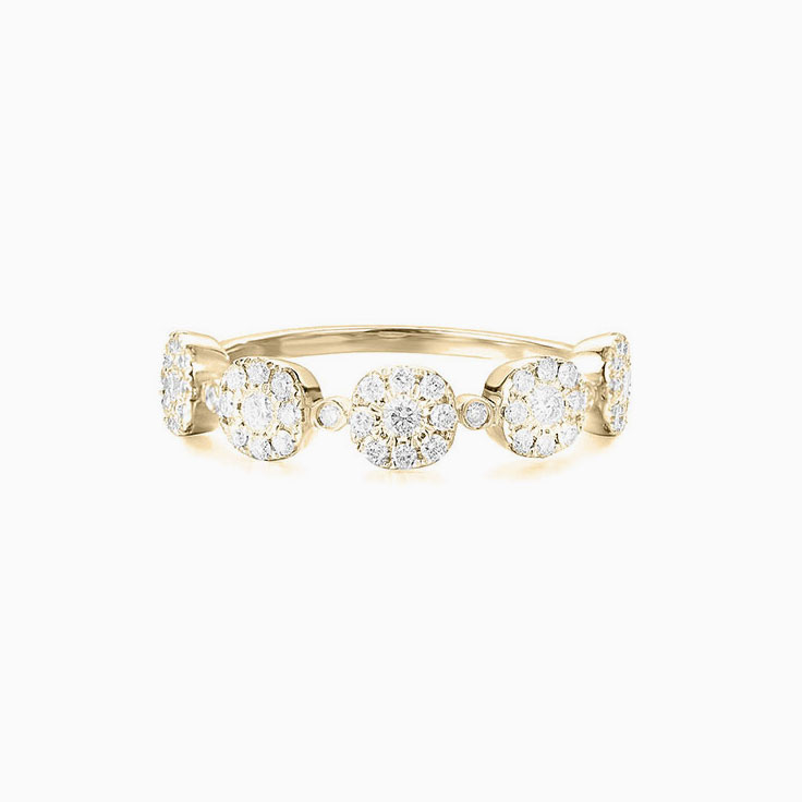 Five Circle cushion Cluster Diamond Ring