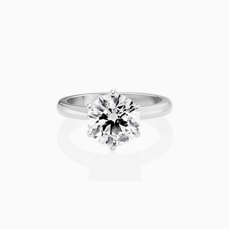 Round Brilliant Cut Engagement Ring In A Six Claw Setting