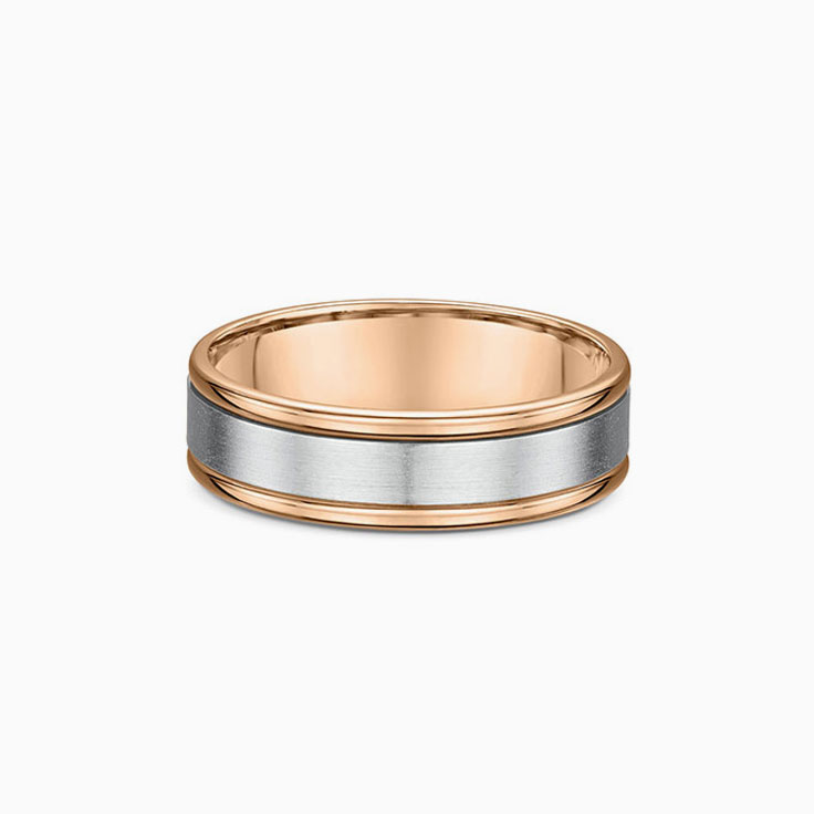 Two tone mens wedding ring 639A17