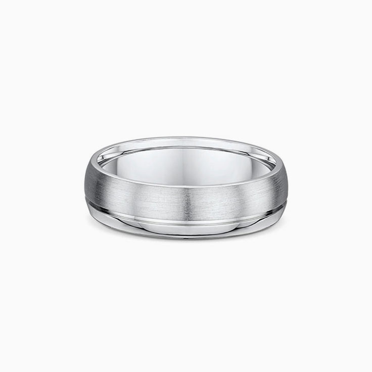 Side step cut Mens wedding ring