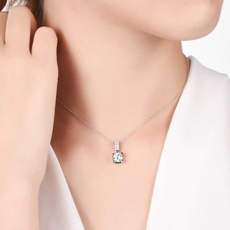 Solitaire pendant with diamond bail