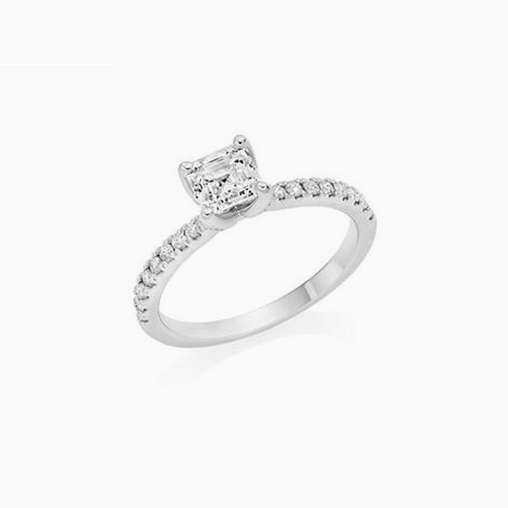 Asscher Cut Engagement Ring on a pave band