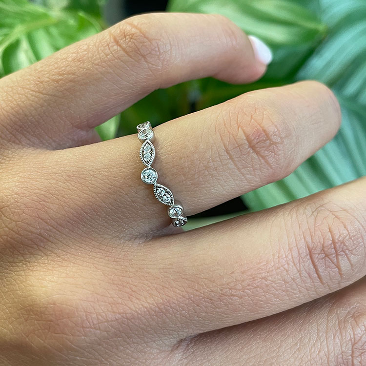 Marquise and Round Curve Ring