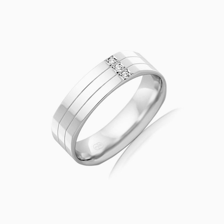 Side set diamond Mens ring F3109