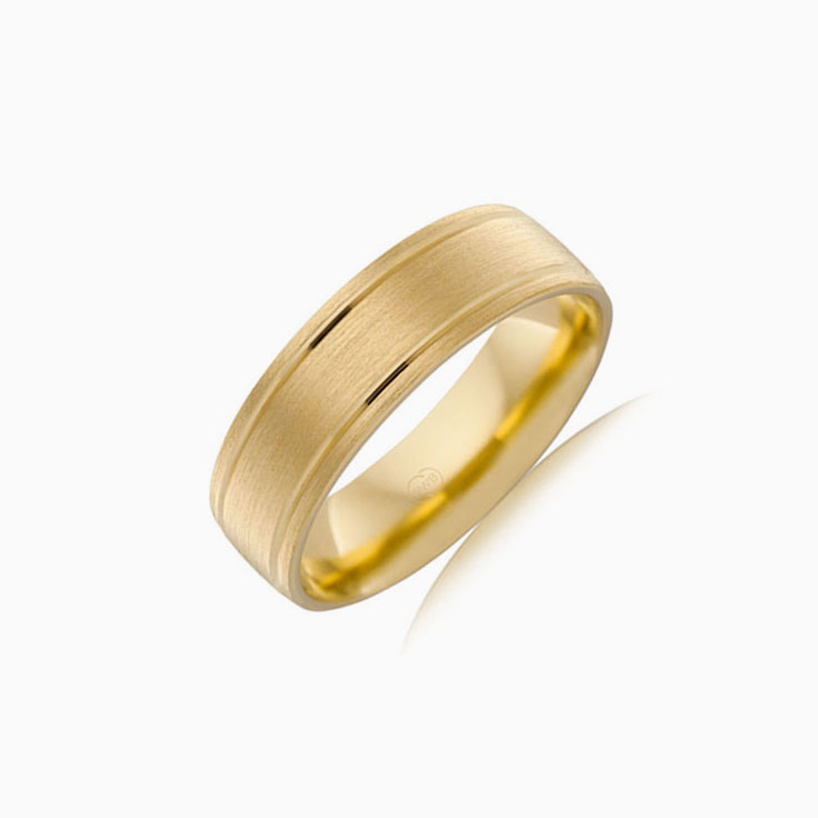 Double groove mens wedding ring B2867