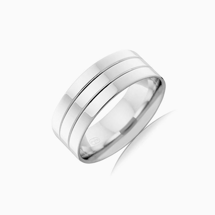 Grooved Mens wedding ring F100