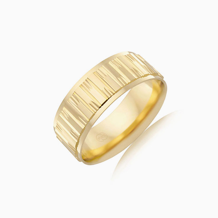 Carved mens ring F1464
