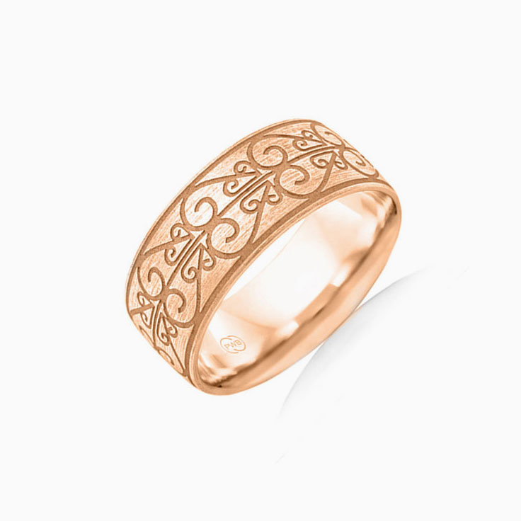 Carved Mens Wedding ring B3994