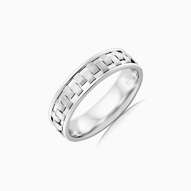 Patterned Mens Wedding ring J4163